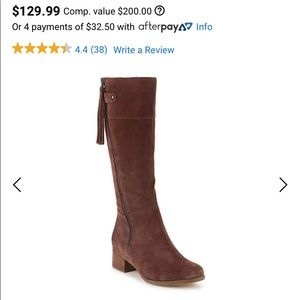 Naturalized Brown Suede Boots.  Wide Calf.